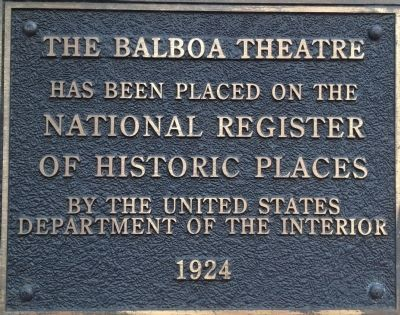 Balboa Theatre Marker image. Click for full size.