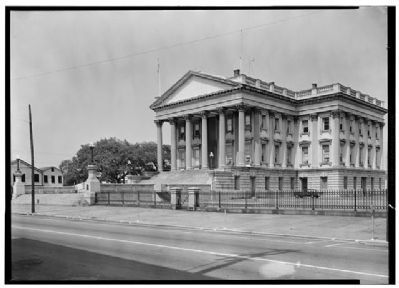 U.S. Custom House front view, Historic American Engineering Record image. Click for full size.
