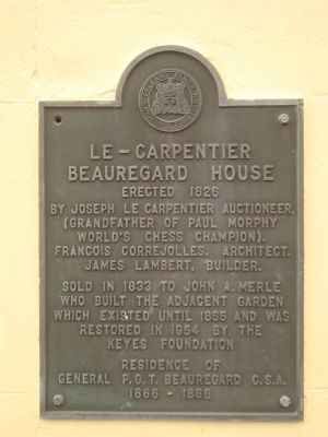 Le – Carpentier/Beauregard House Marker image. Click for full size.