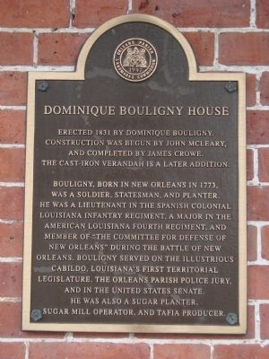 Dominique Bouligny House Marker image. Click for full size.