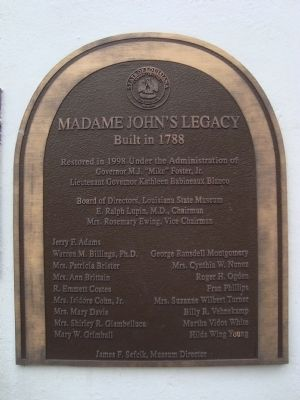Madame John's Legacy Marker image. Click for full size.