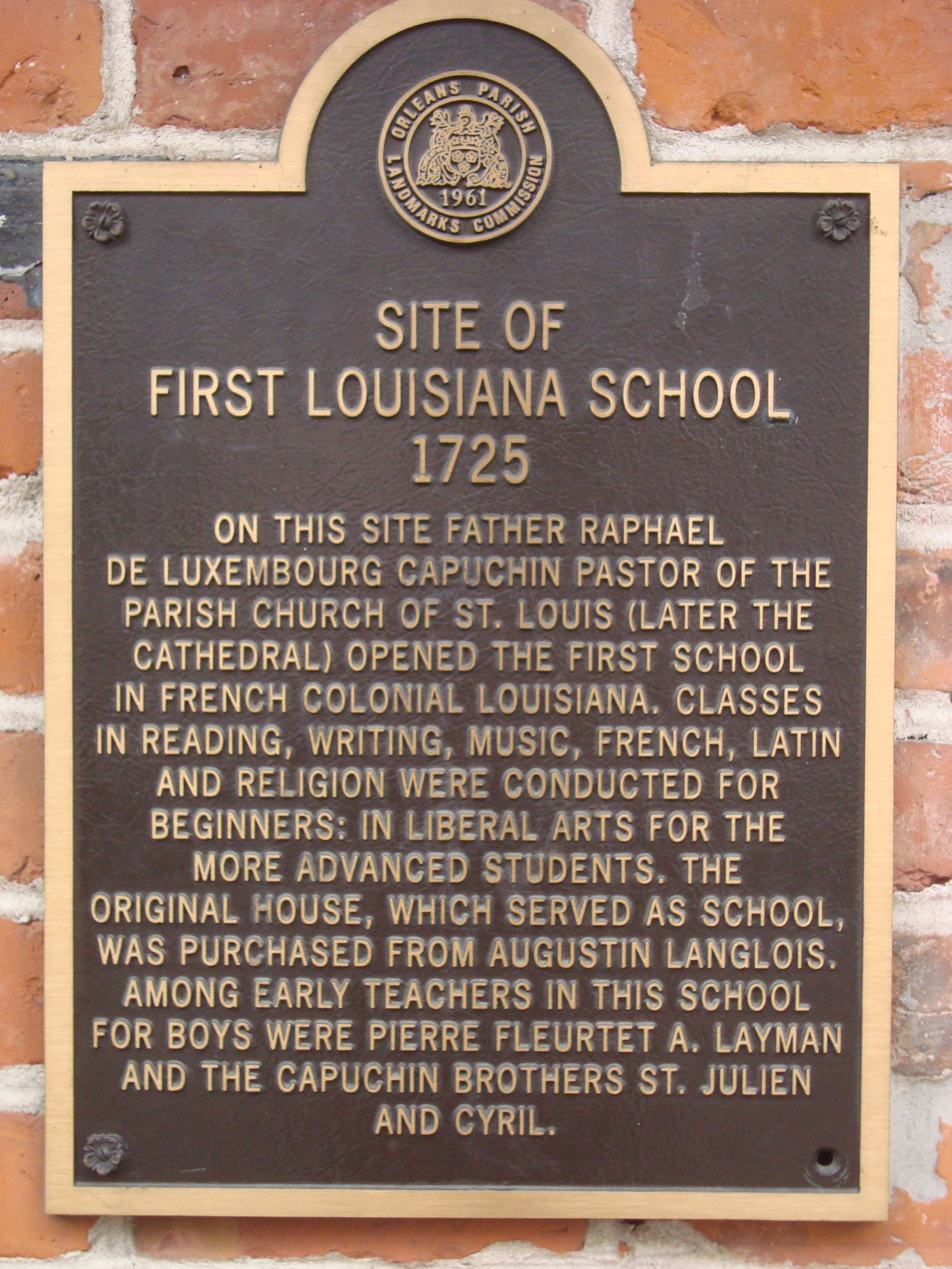 Site of First Louisiana School Marker