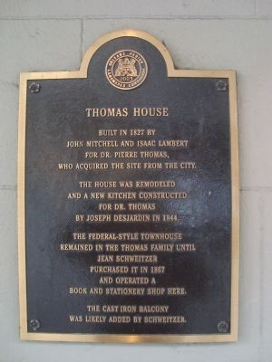 Thomas House Marker image. Click for full size.
