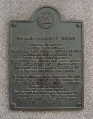 Boimaré-Macarty House Marker image. Click for full size.