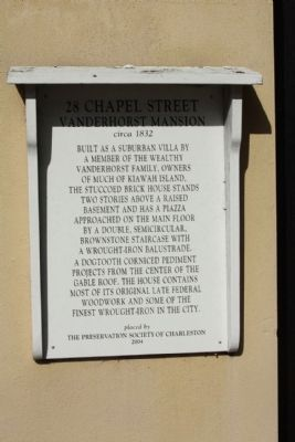 28 Chapel Street Vanderhorst Mansion Marker image. Click for full size.