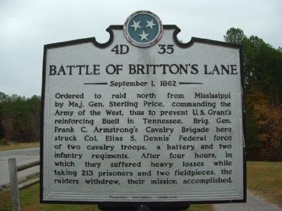 Battle of Britton's Lane Marker image. Click for full size.