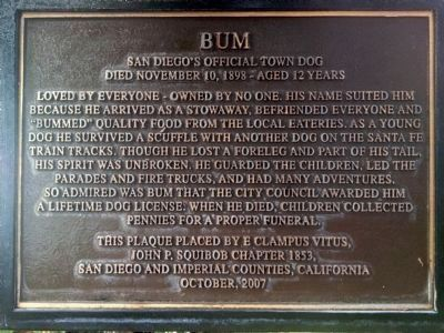 Bum - San Diego's Official Town Dog Marker image. Click for full size.