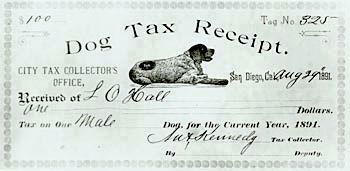 Bum's Lifetime Dog Tag Receipt image. Click for full size.