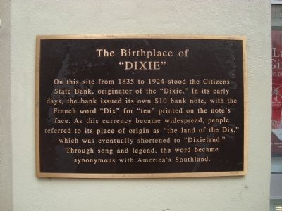 "The Birthplace of ""Dixie"" Marker image. Click for full size."