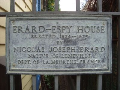Erard-Espy House Marker image. Click for full size.
