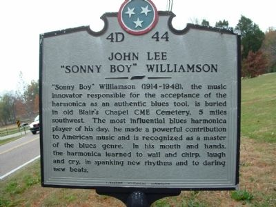 "John Lee ""Sonny Boy"" Williamson Marker image. Click for full size."