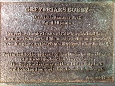 Greyfriars Bobby Marker image. Click for full size.