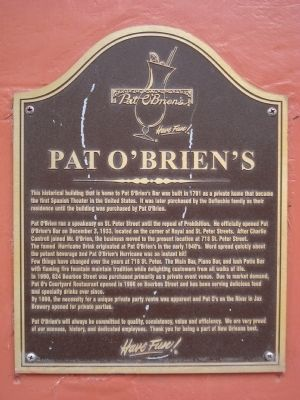 Pat O'Brien's Marker image. Click for full size.