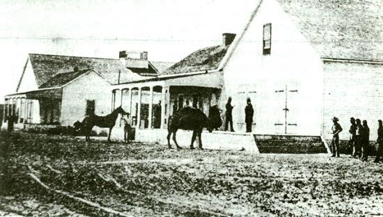 The only known photograph of an Army camel. Government Depot near Banning's Wharf. image. Click for full size.