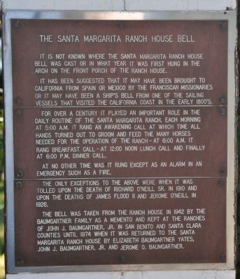 Santa Margarita Ranch House Bell image. Click for full size.