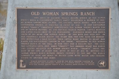 Old Woman Springs Ranch Marker image. Click for full size.