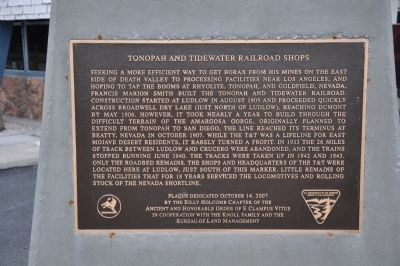 Tonopah and Tidewater Railroad Shops Marker image. Click for full size.