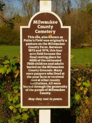 Milwaukee County Cemetery Marker image. Click for full size.