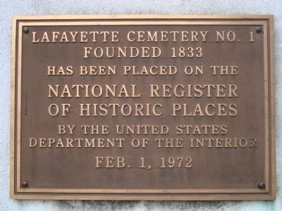 Lafayette Cemetery No. 1 Marker image. Click for full size.