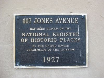 607 Jones Avenue Marker image. Click for full size.