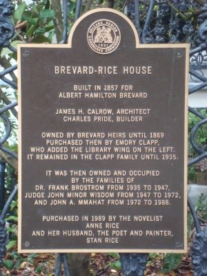 Brevard-Rice House Marker image. Click for full size.