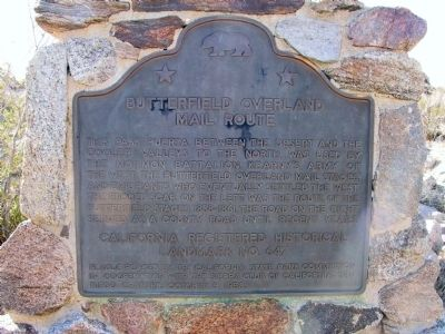 Butterfield Overland Mail Route Marker image. Click for full size.
