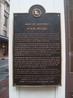 Bank of Louisiana in New Orleans Marker image. Click for full size.
