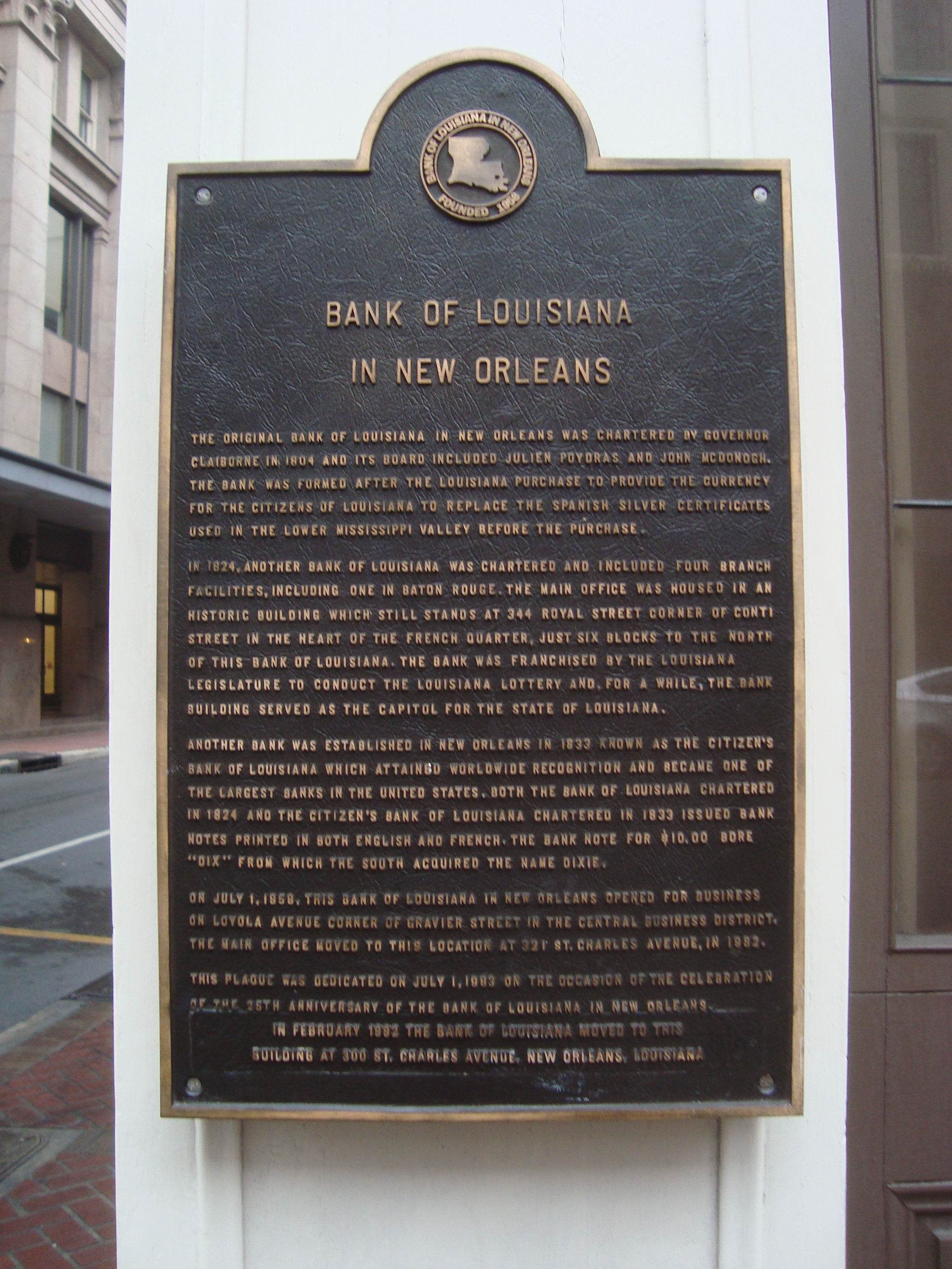 Bank of Louisiana in New Orleans Marker