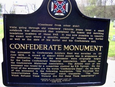 Confederate Soldiers Rest Marker image. Click for full size.