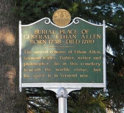 Burial Place of General Ethan Allen Marker image. Click for full size.
