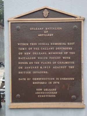 Orleans Battalion of Artillery Marker image. Click for full size.