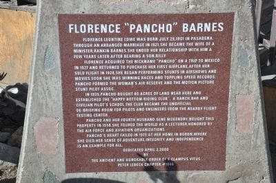 "Florence ""Pancho"" Barnes Marker image. Click for full size."