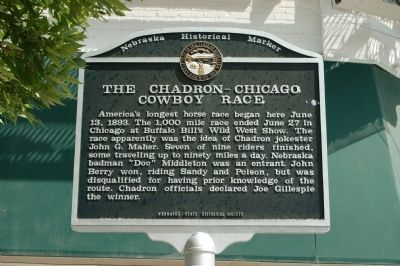The Chadron-Chicago Cowboy Race Marker image. Click for full size.