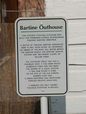 Bartine Outhouse Marker image. Click for full size.