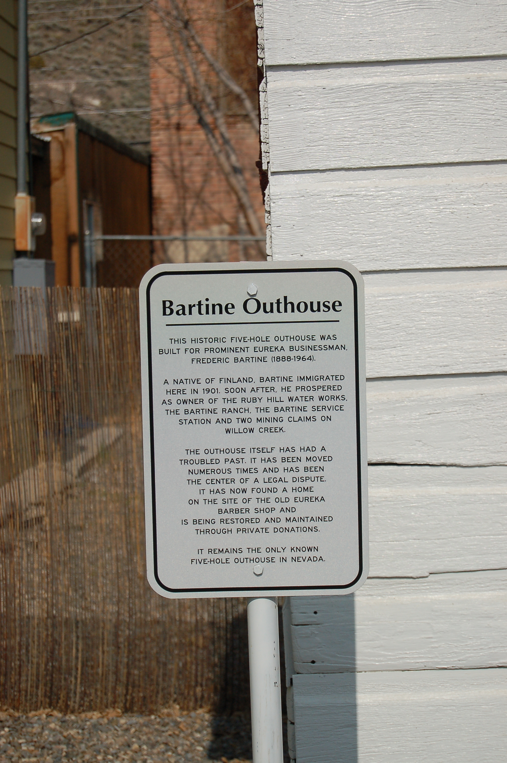 Bartine Outhouse Marker
