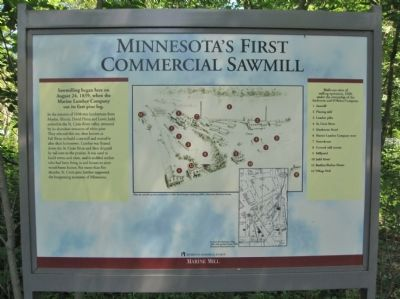 Minnesota's First Commercial Sawmill Marker image. Click for full size.