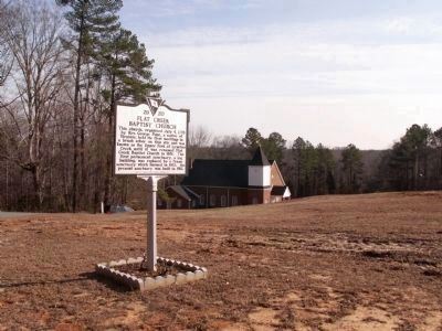 Flat Creek Baptist Church and Marker image. Click for full size.