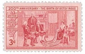 1952 Betsy Ross US Stamp image. Click for full size.
