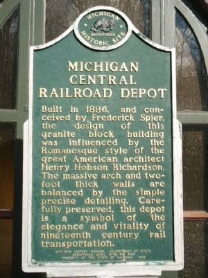 Michigan Central Railroad Depot Marker image. Click for full size.