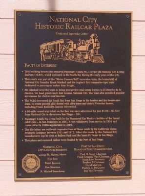 National City Historic Railcar Plaza Marker image. Click for full size.