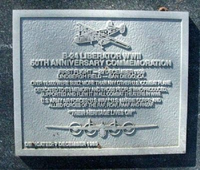 B-24 Liberator WWII 50th Anniversary Commemoration Marker image. Click for full size.