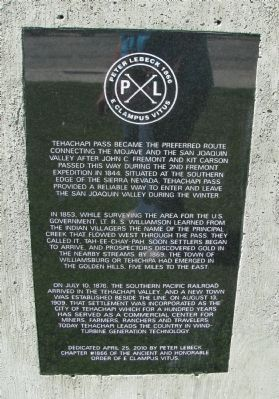 Tehachapi Pass Marker image. Click for full size.