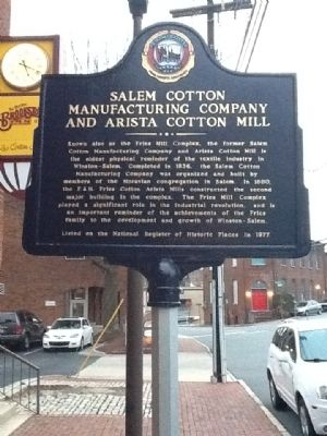 Salem Cotton Manufacturing Company and Arista Cotton Mill Marker image. Click for full size.