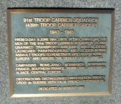 91st Troop Carrier Squadron Marker image. Click for full size.