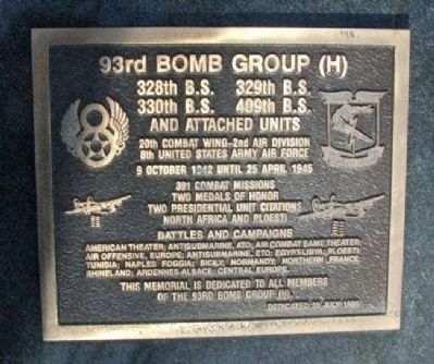 93rd Bomb Group (H) Marker image. Click for full size.