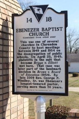Ebenezer Baptist Church Marker, reverse side image. Click for full size.