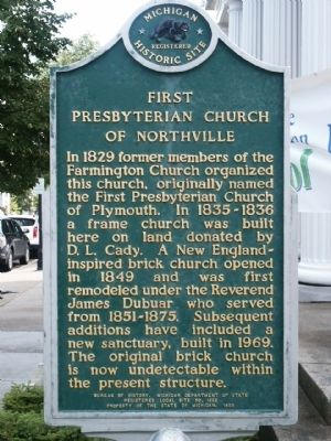 First Presbyterian Church of Northville Marker image. Click for full size.