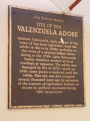 Site of the Valenzuela Adobe Marker image. Click for full size.