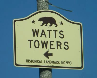 Watts Towers Marker Panel 1 image. Click for full size.