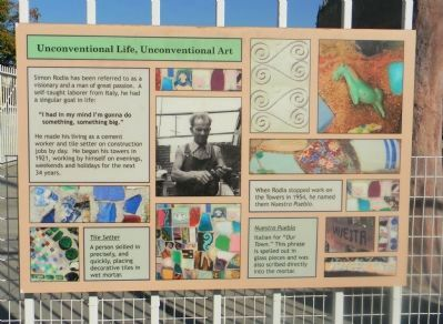 Watts Towers Marker Panel 2 image. Click for full size.